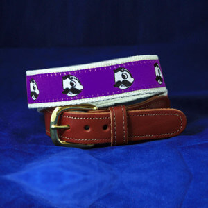 Natty Boh Leather Tab Belt - Purple