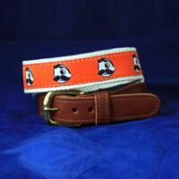 Natty Boh Leather Tab Belt - Orange