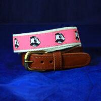 Natty Boh Leather Tab Belt - Pink