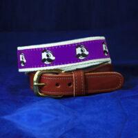 Natty Boh Leather Tab Belt - Purple