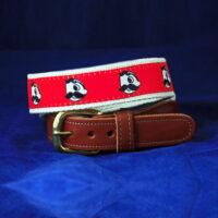 Natty Boh Leather Tab Belt - Red